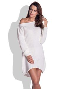 Ecru Knitted Dress with Asymetrical Neckline
