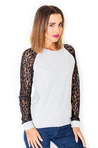 Black&Grey Long Lace Sleeves Cut Out Back Blouse