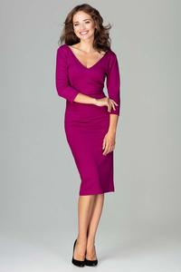 Fuchsia Slim Fit V-Neck Midi Dress