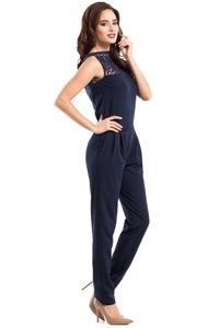 Navy Blue Elegant Ladies Jumpsuit with Lace