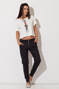 Black Casual Pants with Golden Zip