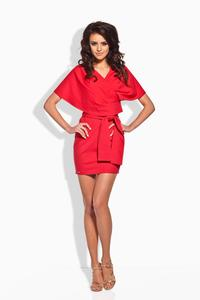 Red Self Tie Mini Dress