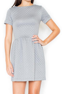 Grey Diamond Stitched Shift Dress with Rolled Up Cuffs