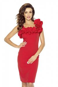 Red Coctail Dress with Frilled Strap