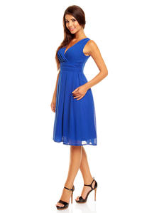 Blue Elegant Deep Neck Evening Dress