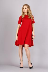 Red Short Sleeves Flared Knee Lenght Dress