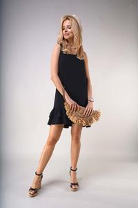 Black Loose Sleeveless Dress with Frills