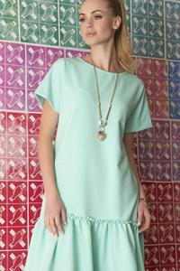 Mint Green Loose Cut Dress with a Frill