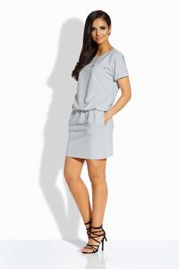 Light Grey Elastic Waist Mini Dress