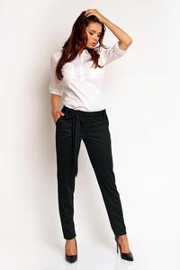 Black Elegant Bussiess Style Belted Pants