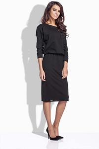 Black Bat Sleeves Midi Dress