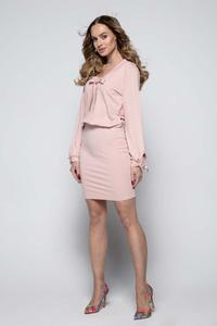 Powdre Pink Casual Dress with Self Tie Bows