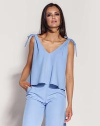 Light Blue Elegant Sleeveless Blouse Top