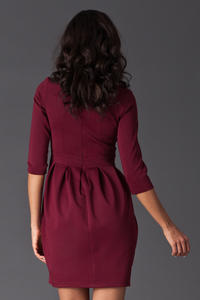 Maroon Hourly Bodice Hippie Pleat Dress