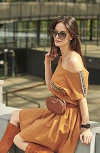Camel short dress in the style of Boho with decorative insets