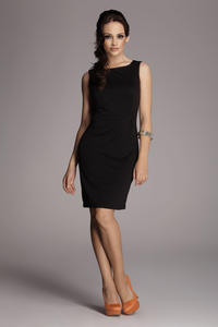 Black Bateau Neck Seam Shift Slit Dress