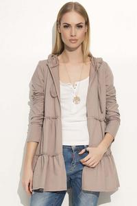 Cappuccino Comfy Jacket with Frills&Hood