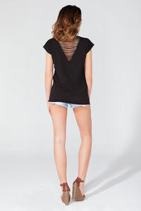 Black Summer Rock Style T-shirt with Cut Out Back