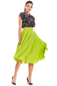 Lime Midi Skirt with Pockets