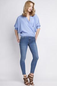 Light Blue Wrap Neckline 3/4 Sleeves Blouse