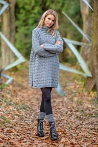 Grey Mini Dress Comfy Wool
