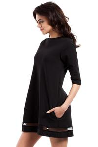 Black Classic Flared Dress with Transparent Strap