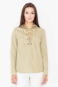 Olive Green Lace-up Front Shirt