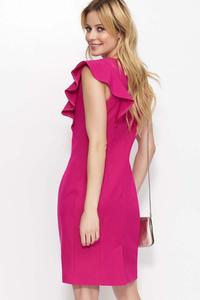 Fuchsia Simple Pencil Dress with a Frill
