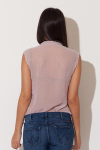 Dirty Pink Dreamy Speckles Summer Sheer Blouse