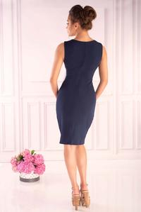 Navy Blue Fitted Sleeveless Dress with Chiffon