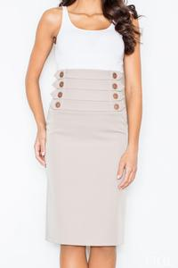 Beige Slim Fit Pencil Style High Waist Office Dress
