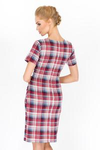 Red Plaid Pattern V-Neckline Dress