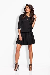 Black Elastic Waist 3/4 Sleeves Casual Dress