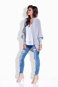 Light Grey Loose Bat Sleeves Cardigan