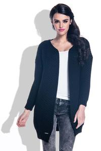 Black Reglan Sleeves Open Cardigan