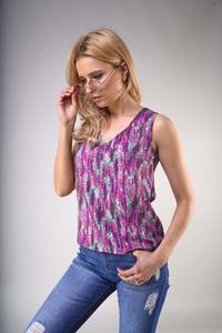 Sleeveless V-neck blouse - Lavender