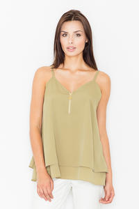 Olive Green Two Layers Spaghetti Straps Top
