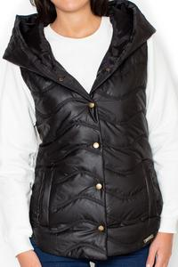 Black Hooded Padded Snaps Closure Vest Jacket