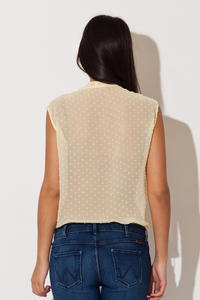 Yellow Dreamy Speckles Summer Sheer Blouse