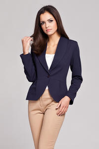 Navy Blue Long Lapel Single Button Closure Blazer for Women