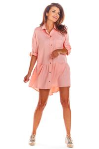 Pink Loose Frill Shirt Dress