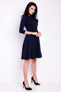Dark Blue Flared Knee Length Wrinkled Dress