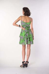 Strappy dress with a flared neckline - leaves