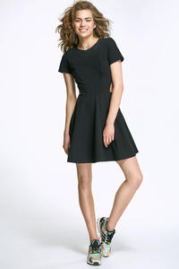 Black Flared Mini Dress with Cut out Sides