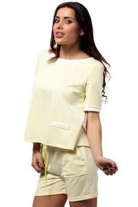 Yellow Cropped Blouse with Crossover Back