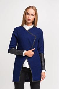 Navy Blue Elegant Cardigan with Eco-leather Piping and Sleeves