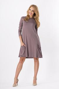 Cappuccino Casual Flared Mini Dress with Pockets