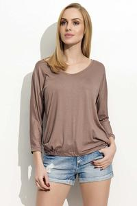 Cappuccino 3/4 Sleeves Simple Blouse