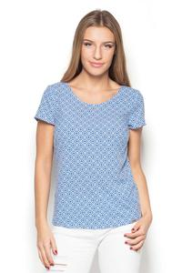 Blue Scoop Neckline Geometric Pattern T-shirt