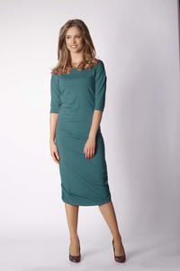 Green Fitted Midi Dress Pleated at the Sides